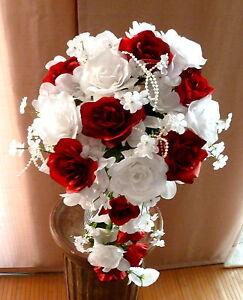 Brautstrauss Hochzeitsstrauss Bordeaux Weiss Blumenstrauss Hochzeit Ebay