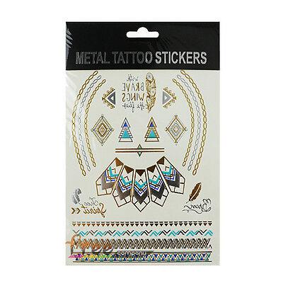 1 Sheet Temporary Flash Tattoo Inspired Body Makeup Sticker Gold Silver Metallic