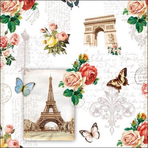 "4 Napkins /""PARIS MONUMENTS/"" 33x33 Napkins Rose Pattern Font Butterfly"