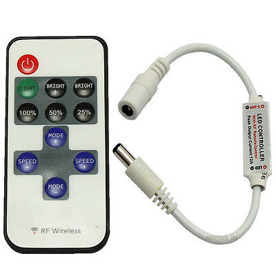 RF Wireless Remote Mini Dimmer TO DC Adapter For Led Single Color Light Strip