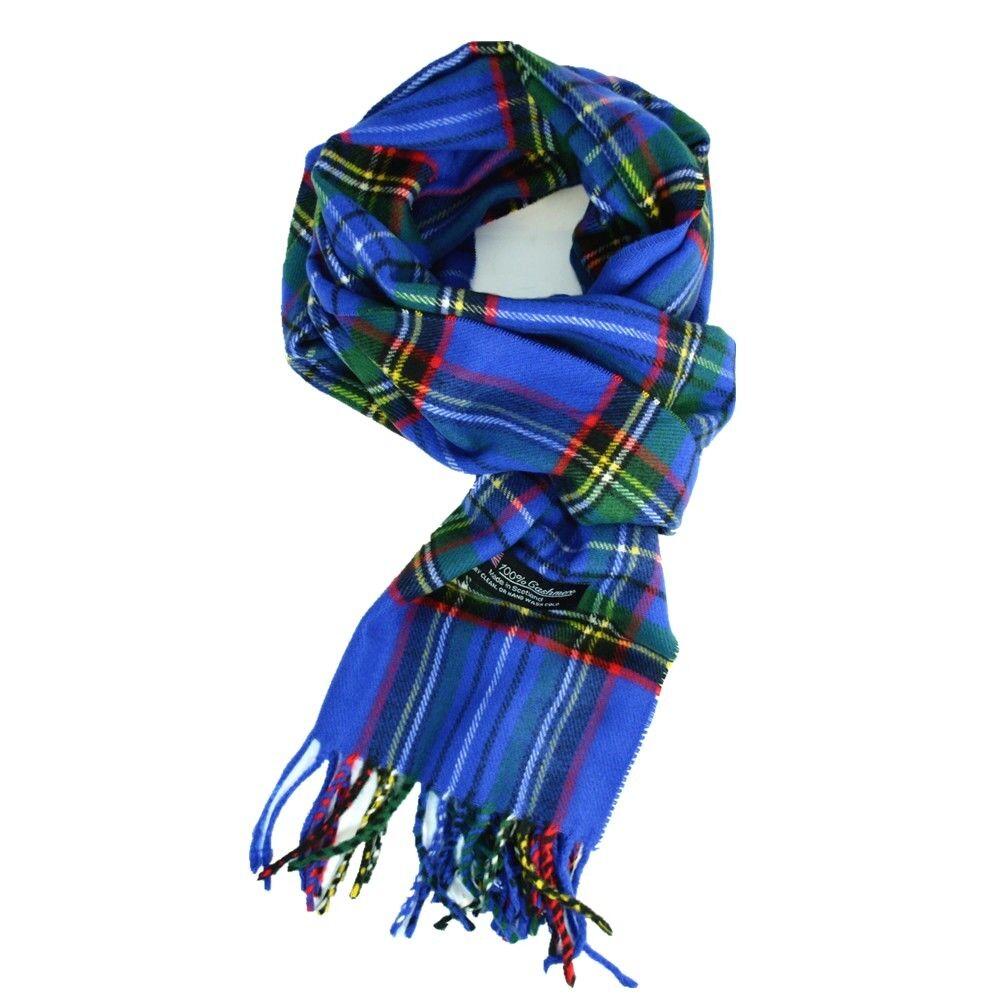 Men Women unisex 100/% CASHMERE Tartan Stripe Plaid Wool Baby Blue Wrap Scarf
