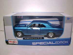 1966-Chevy-Chevelle-SS-396-Coupe-Diecast-Car-1-24-Maisto-8-inch-Blue