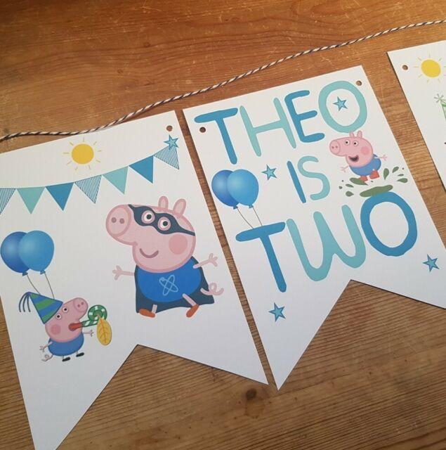 Personalised George Peppa Pig Age Bunting Party Happy Birthday Handmade Banner