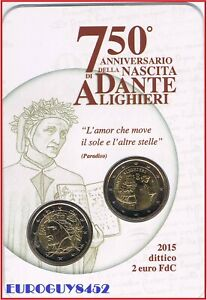 ITALIE - MINIBLISTER 2 € COM. 2015 BU DANTE ALIGHIERI + 2 € 2015 BU KOERSMUNT