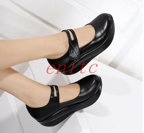 Womens Faux Leather Pumps Shoes Platform Shoes Round Toe Wedge Heels Mary Jane