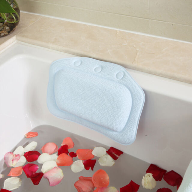Bathtub Soft Plain Bath Spa Pillow Bath Backrest Headrest Suction Cup PVC