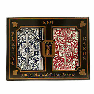 KEM Arrow Playing Cards 2 Deck Set Red and Blue Bridge Size Standard Index N