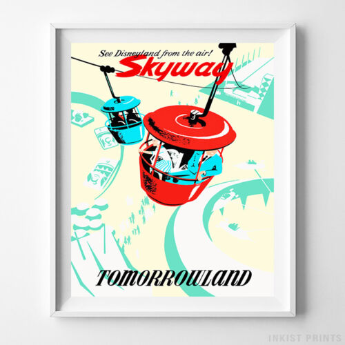 Disney Poster Skyway Tomorrowland Disneyland Art Print Gift Idea UNFRAMED
