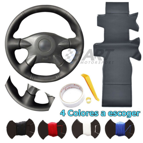 perforado Funda de volante para Nissan Almera Primera X-trail en cuero liso