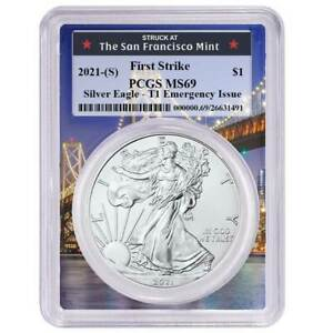 $1 American Silver Eagle PCGS MS70 Emergency Issue Blue Label Presale 2021 S