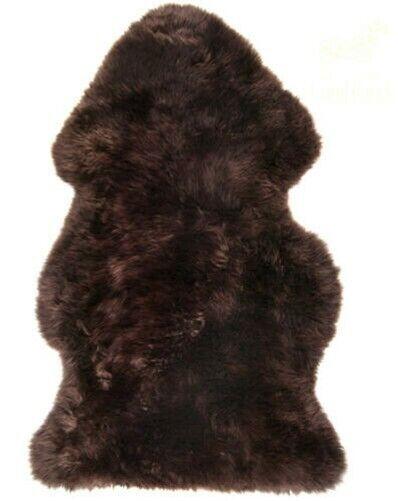 Super Soft Large Luxury British Genuine Sheepskin Rug Hide Pelt Dark Brown