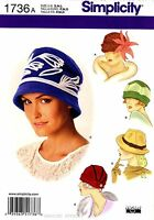 Vintage 20s 30s Retro Fleece Hats Womens Misses Simplicity Sewing Pattern Craft Supplies