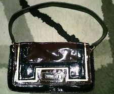 ANYA HINDMARCH-TARGET Black/Brown/Gold Faux Patent Leather Shoulder Bag/Purse