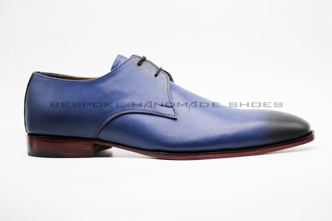 Men's Handmade Genuine bluee & Black Leather Wingtip Lace Up Formal shoes