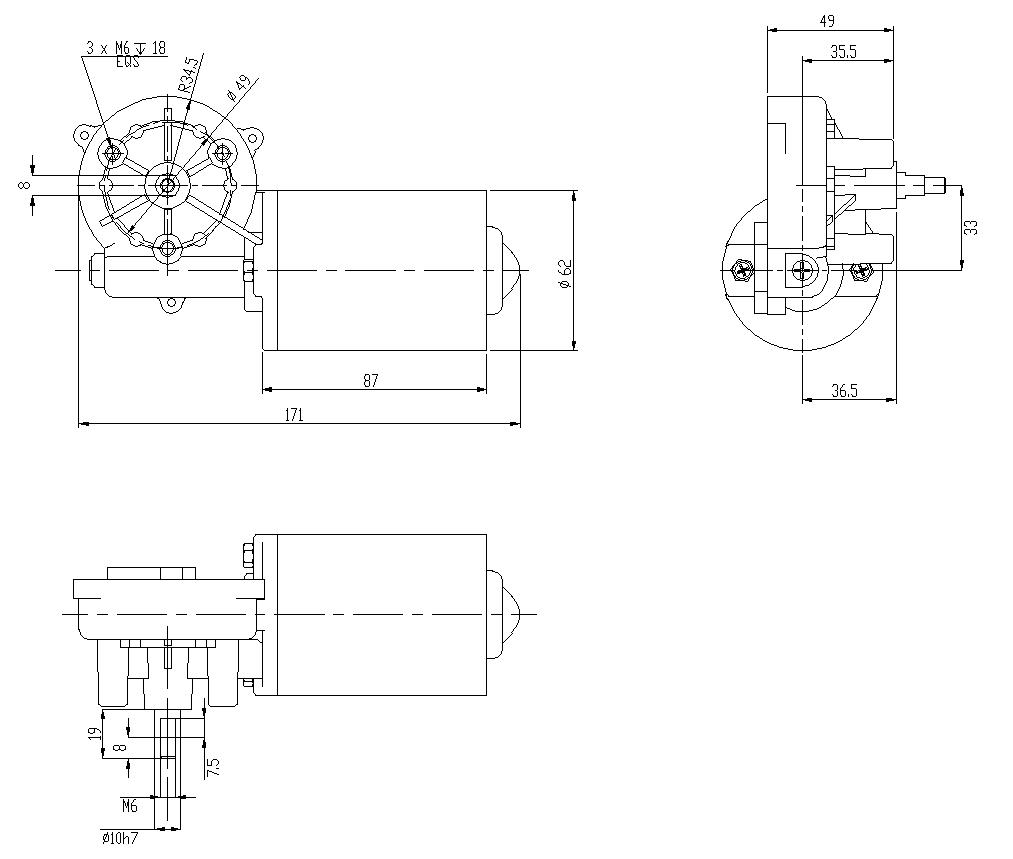 12V 24V DC Getriebemotor Elektro Schneckengetriebemotor Linke//Rechts Angle 50RPM