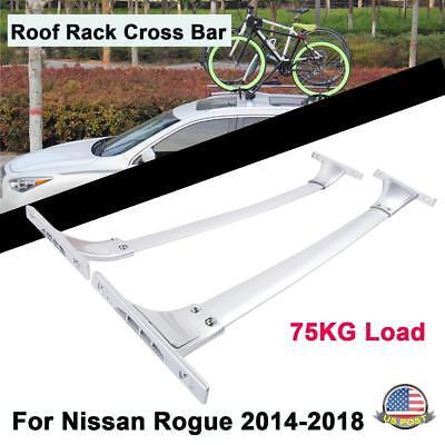 For 2014 2015 2016 2017 2018 Nissan Rogue Roof Rack Cross Bar Carrier Silver