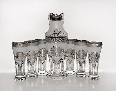 Karaffe & 6 Longdrinkgläser, Bohemia, Handarbeit, Handbemalt, Farbe Platin/ Weiß