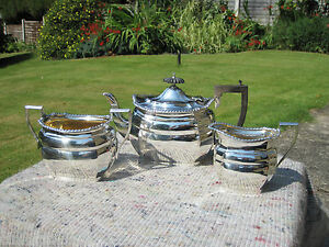 Superb-Heavy-Solid-Silver-And-Gilt-Edwardian-3-Piece-Tea-Set-William-Aitken-1905