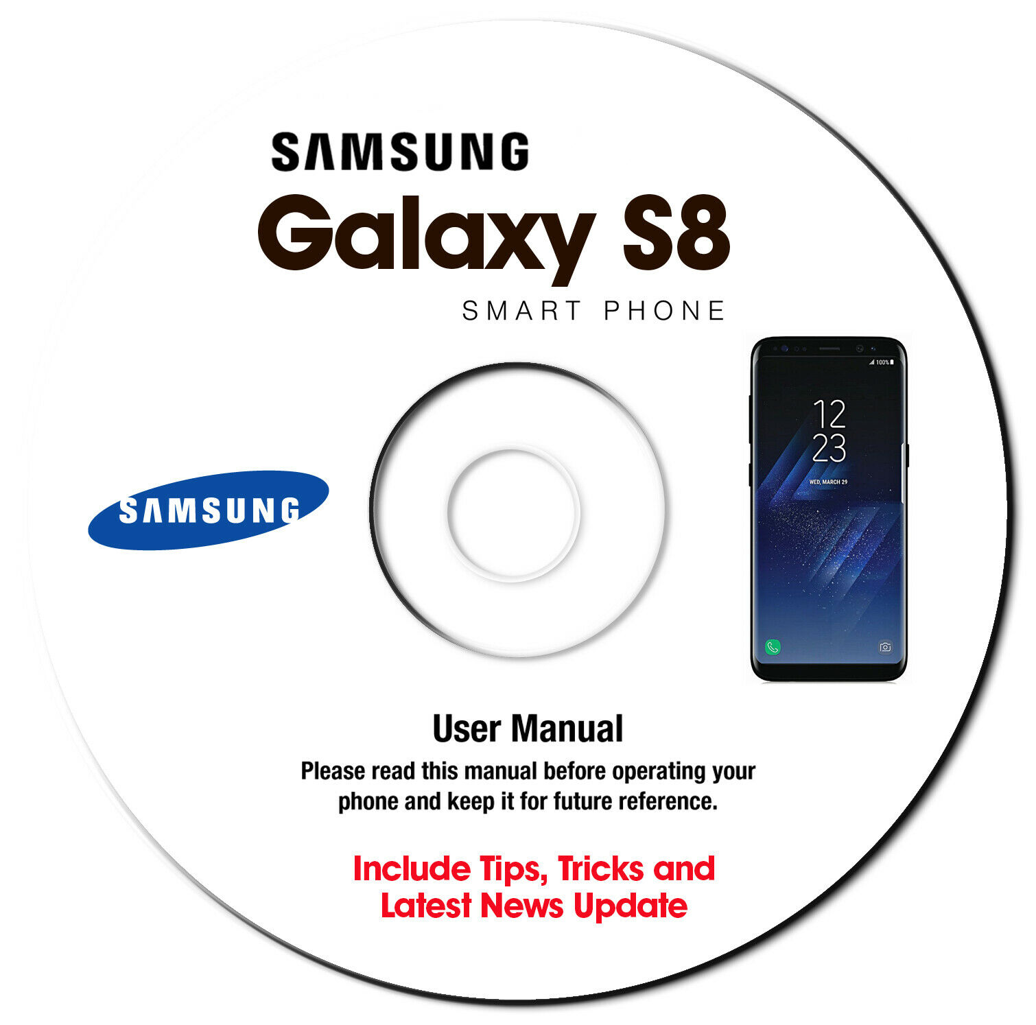 Samsung Galaxy S8-S8 Plus (SM-G955F-SM-G955FD) User Manual Guide CD - METRO PCS