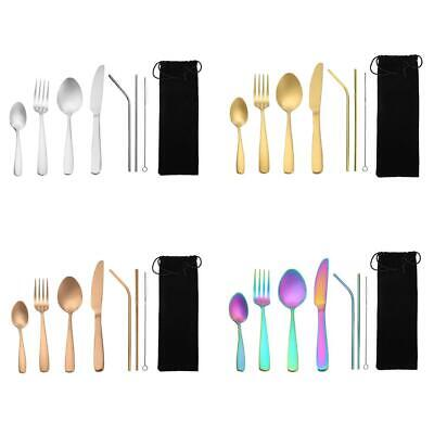 8pcs Portable Stainless Steel Tableware Dinnerware Travel Camp Cutlery Tool Set