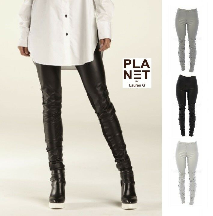 PLANET by Lauren G  4016VL  VEGAN LEATHER SEXY LEGGING  Pant  SS 2018  3 COLORS