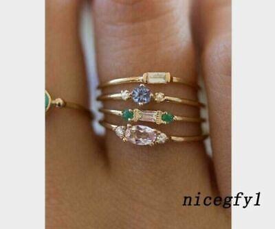 Fashion Gemstone Gem Bridal Ring Set Wholesale Bohemian Boho Women