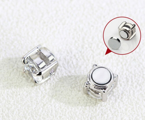 C02 Ohrring versilbert weißer Zirkonia Magnetverschluß ohne Ohrlöcher