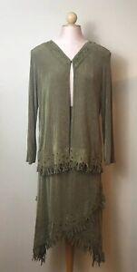 Vintage-Slinky-Brand-Womens-Sz-S-2-Piece-Skirt-Set-Urban-Boho-Fringe-Olive-Green