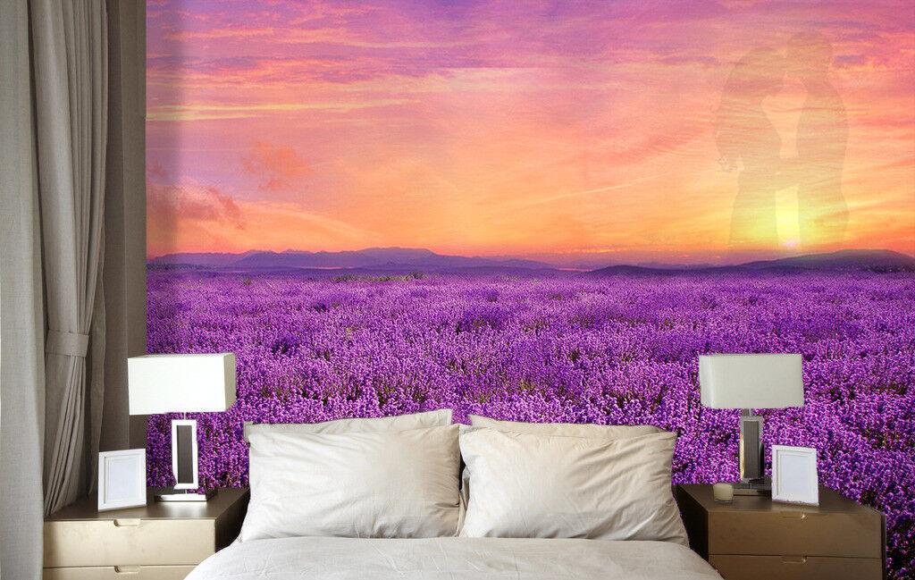 3D Schönen Lavendelfeld 74 Tapete Wandgemälde Tapete Tapeten Bild Familie DE