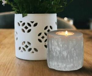 Selenite-Tealight-Candle-Holder-Authentic-amp-Hand-Carved-Beautiful-Home-Decor