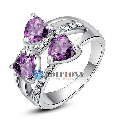 Heart Shape Amethyst Rings 18K White Gold Plated Use Swarovski Crystal Jewellery