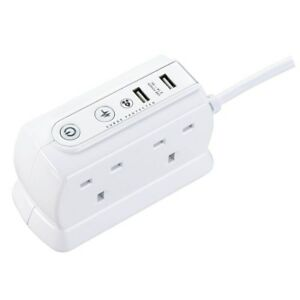 Masterplug-USB-Charging-1M-Extension-Cable-Mains-Lead-Power-Block-with-4-Sockets