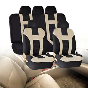 Beige-Car-Seat-Covers-Protectors-Universal-Washable-Dog-Pet-Front-Rear-Full-Set