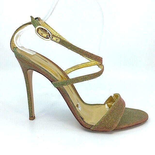 grandi offerte Gianvito Rossi Rossi Rossi iridescent verde rosa glitter fabric ankle strappy sandals Sz 41  economico e di alta qualità