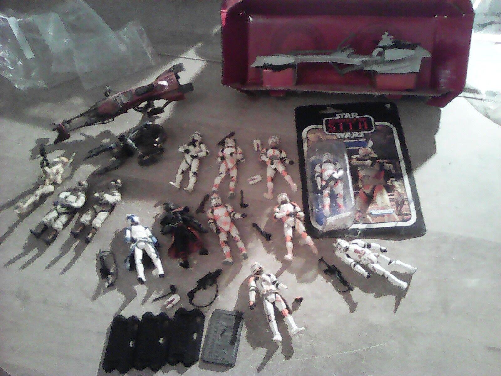 Star wars 3.75 gros lot de figurines clones , speeders bike , droids ...
