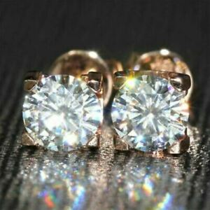 14K-Rose-Gold-Over-3Ct-Round-Cut-Moissanite-Push-Back-Solitaire-Stud-Earring