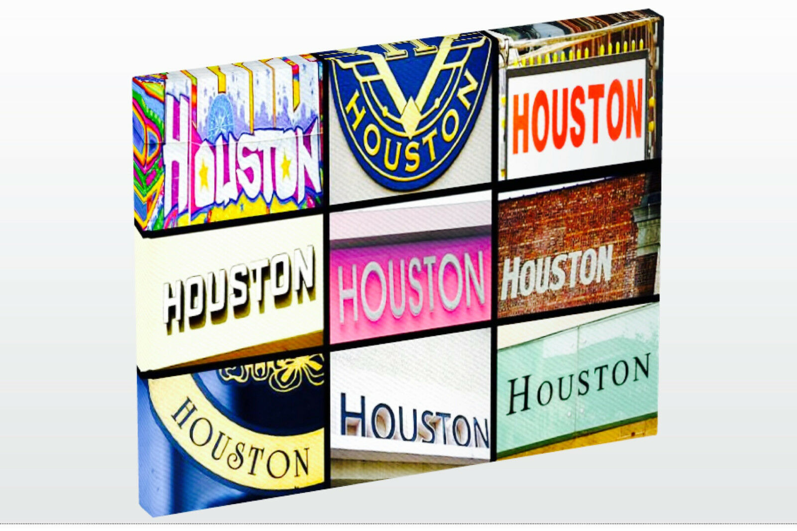 Personalized Photo Canvas featuring the name HOUSTON in photos of signs