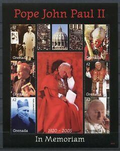 Grenade 2008 Le Pape Jean-paul Ii. Pope John Paul 6082-6087 Tamponné Neuf Sans Charnière-afficher Le Titre D'origine