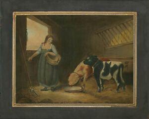 After-George-Morland-1763-1804-19th-Century-Watercolour-A-Girl-with-Calves