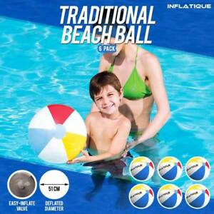 Traditional-Inflatable-Beach-Ball-6-Pack-51cm-Pool-Holidays-Party-Game-Blow