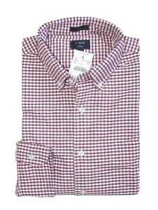 J-Crew-Factory-Men-039-s-L-Slim-Fit-Maroon-Red-Gingham-Plaid-Oxford-Cotton-Shirt