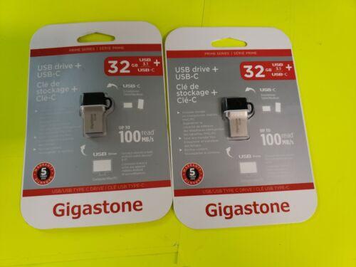 .NEW LOT OF 2 Gigastone Prime 32GB USB3//MicroUSB Flash Drive GS-U332OTGC-R