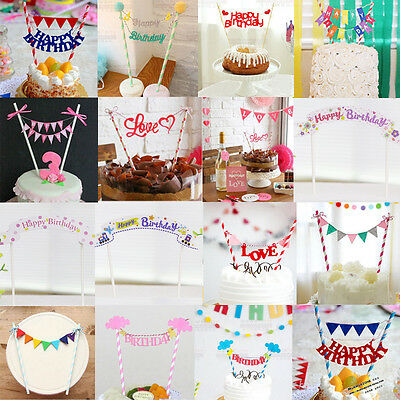 Flag Cute Cake Topper Baby Shower Decorations Birthday Party Supplies