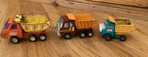 Vintage-Buddy-L-Mini-Pressed-Steel-Dump-Truck-Orange-amp-Yellow-2-extra-trucks