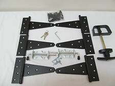 "New Heavy Duty Coop Shed double door hardware kit: Kit 6"" Hinges T Handle Barrel"