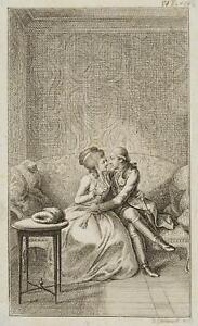 Chodowiecki (1726-1801). ferdiner e Julie su un divano, prova di stampa