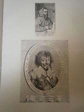 Planche gravure Portrait du pére Joseph et de C. de Créquy  Claude Mellan