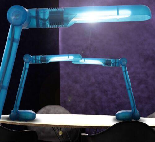 2er Set Tisch Leuchte Büro Licht Lese Steh Lampe Arbeits Zimmer Schalter blau