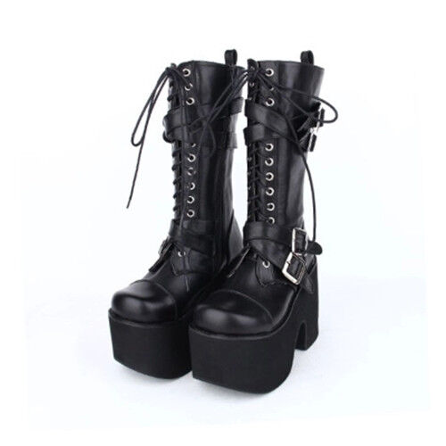 Women's Punk Knee High Boots Riding Platform Harajuku Lolita shoes Cosplay Boots
