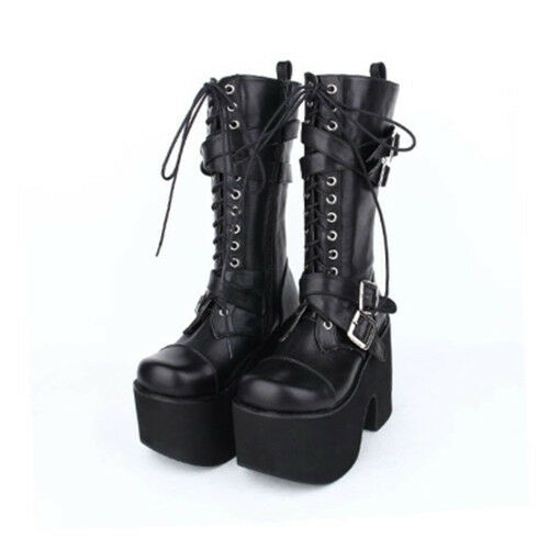Women/'s Punk Bottes Hautes Cavalières Plateforme Harajuku Lolita shoes cosplay boots